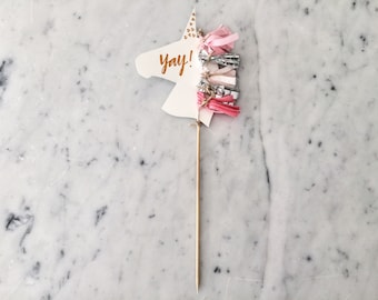 Unicorn Cake Topper / Rose Gold Modern Calligraphy / Custom Hand Lettered / Silver Blush Pink / Mini Tassels / Unicorn Mane Pastels /