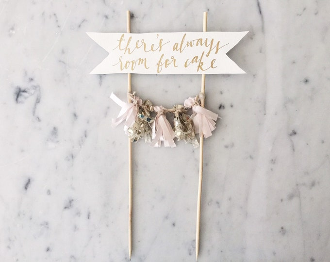 Cake Topper / Gold Calligraphy / Custom Hand Lettered/ Blush Pink Gold/ Made-To-Order/ Hand Made Mini Tassels / Baby Girl / Birthdays /