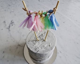 Mini Tassel Cake Topper / Custom / Unicorn Pastel Rainbow / Made-To-Order/ Hand Made Mini Tassels / Birthday Party / Bamboo Sticks / Cotton