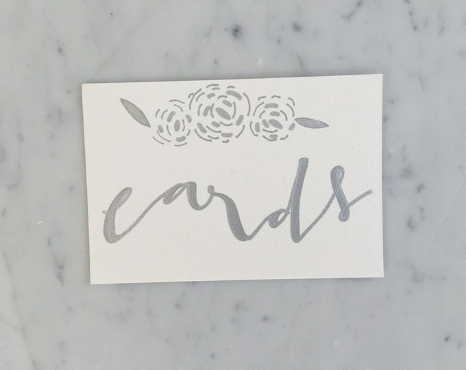 Custom 6 x 4 inch Hand Drawn Metallic Silver Lettering Sign / GARDEN LOVE / Cards Sign / Calligraphy/ Party Wedding Birthday Hens Bridal /