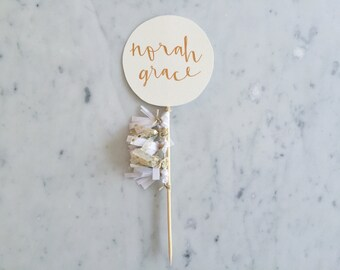 Cake Topper / Rose Gold Modern Calligraphy / Custom Hand Lettered/ White Gold/ Mini Tassels Balloon / Birthday Wedding Baby Shower /
