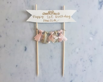 Cake Topper / Gold Calligraphy / Custom Hand Lettered/ Blush Pink Gold/ Made-To-Order/ Hand Made Mini Tassels / Tiara Princess / Birthdays /