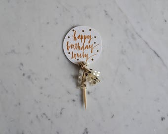Mini Cake Topper / Rose Gold Modern Calligraphy / Custom Hand Lettered / Gold Polka Dot / Mini Tassels Balloon / Birthday Wedding/