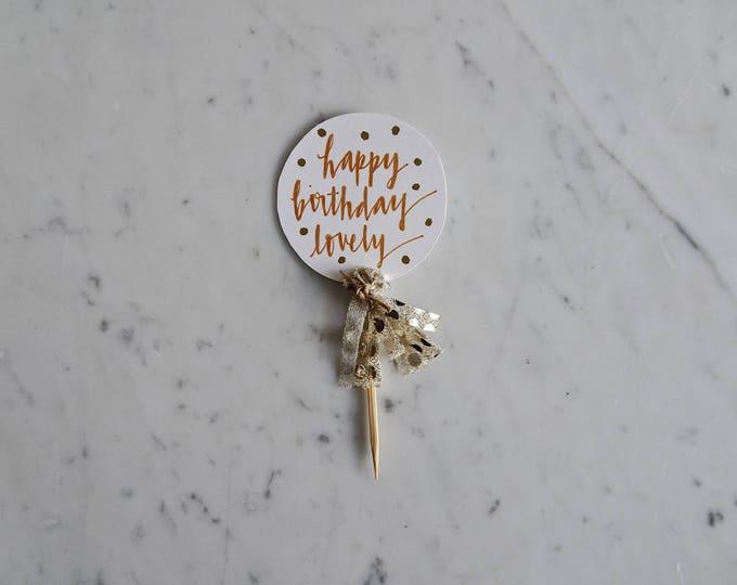 Mini Cake Topper / Rose Gold Modern Calligraphy / Custom Hand Lettered / Gold Polka Dot / Mini Tassels Balloon / Birthday Wedding/