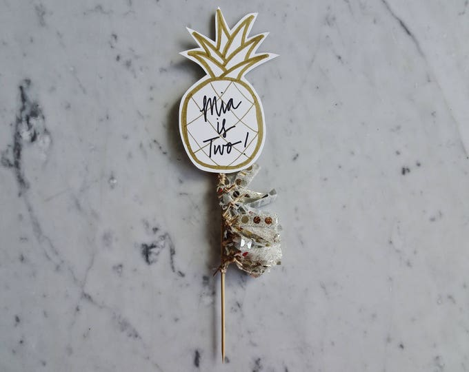Pineapple Cake Topper / Gold Modern Calligraphy / Custom Hand Lettered / Gold / Mini Tassels / First Birthday / Tropical / Tropicana / Fruit