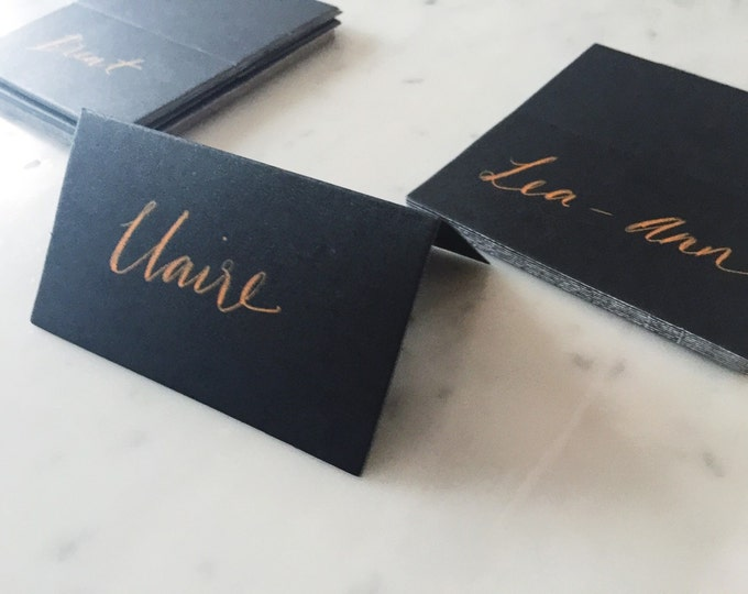Custom Hand Drawn Metallic Rose Gold Lettering Sign / Name Cards Tags / Black Place Card / Calligraphy/ Party Event Wedding Birthday /