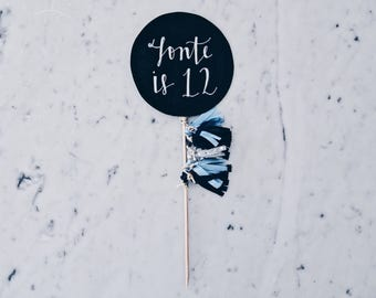 Cake Topper / Modern Calligraphy / Custom Hand Lettered/ Blue Silver Black / Made-To-Order/ Hand Made Mini Tassels / Birthday / Name Baby