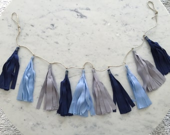 9 Inch Fabric Tassel Garland / Handmade Party Decor / Customised / Bunting / Navy Blue Grey Gray / Weddings Birthdays Baby-Showers Etc /