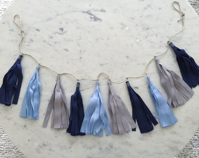 9 Inch Fabric Tassel Garland / Handmade Party Decor / Customised / Bunting / Navy Blue Grey Gray / Weddings Birthdays Baby-Showers Etc /