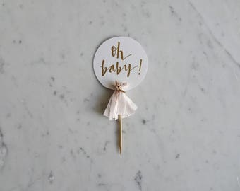 Mini Cake Topper / Gold Modern Calligraphy / Custom Hand Lettered / Oh Baby Girl Blush Pink / Mini Tassels Balloon / Birthday Wedding/