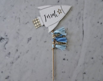 Rocket Cake Topper / Modern Calligraphy / Custom Hand Lettered / Blue / Mini Tassels / First Birthday / Baby Boy / Spaceship / Out Of Space