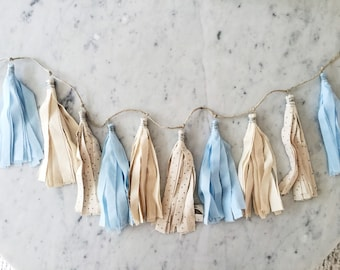 9 Inch Fabric Tassel Garland/ Bespoke / Customisable/ Made-to-order/ Baby Blue Cream Calico Star Pastels / Baby Shower Kids Children Nursery