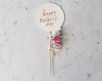 Cake Topper / Rose Gold Modern Calligraphy / Custom Hand Lettered/ Cream Star Gold/ Mini Tassels Balloon Round / Birthday Wedding Baby Love