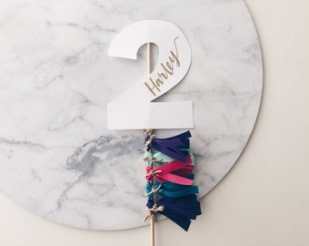 Cake Topper / Two / Second Birthday / Gold Modern Calligraphy / Custom Hand Lettered / Bright Colours / Confetti / Mini Tassels /