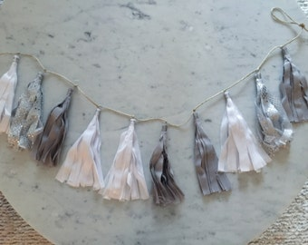 9 Inch Fabric Tassel Garland / Handmade / Customise / Minimalistic / Monochrome / White Grey Silver / Weddings Birthdays Baby-Showers Etc /