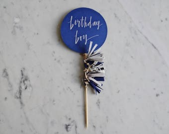 Cake Topper / Silver Modern Calligraphy / Custom Hand Lettered / Navy Grey Silver Blue Boy / Mini Tassels Balloon / Birthday Wedding/