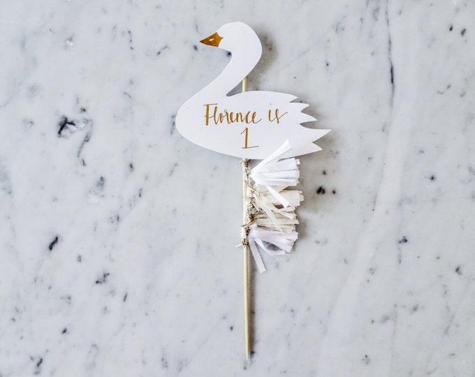 Swan Cake Topper / Rose Gold Modern Calligraphy / Custom Hand Lettered / White Neutral Beige Blush / Mini Tassels / First Birthday Pastels /