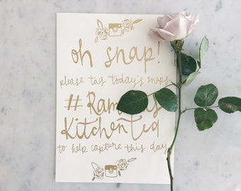 Custom A4 Hand Drawn Metallic Gold Lettering Sign / GARDEN LOVE / Instagram Hashtag Sign / Calligraphy / Party Wedding Birthday Outdoor /