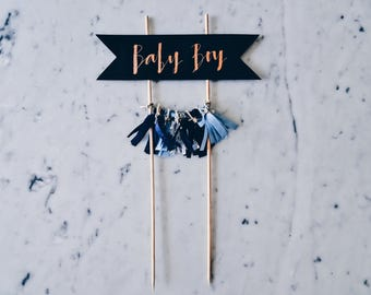 Cake Topper / Modern Calligraphy / Custom / Blue Baby Boy / Gender Reveal Cake / Made-To-Order/ Hand Made Mini Tassels / Party / Birthdays /