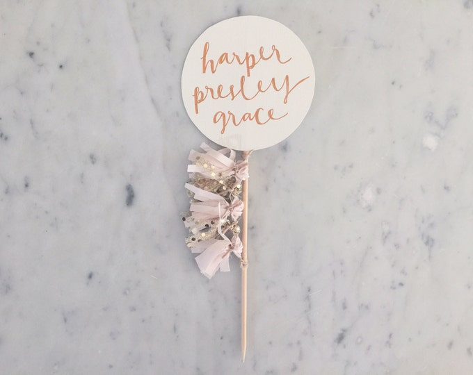 Cake Topper / Rose Gold Modern Calligraphy / Custom Hand Lettered/ Blush Pink Gold/ Mini Tassels Balloon / Birthday Wedding Baby Shower /