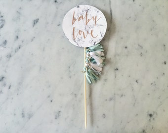 Cake Topper / Marble Print / Modern Calligraphy / Custom Hand Lettered / Mint White / Mini Tassels Balloon / Birthday / Love Baby