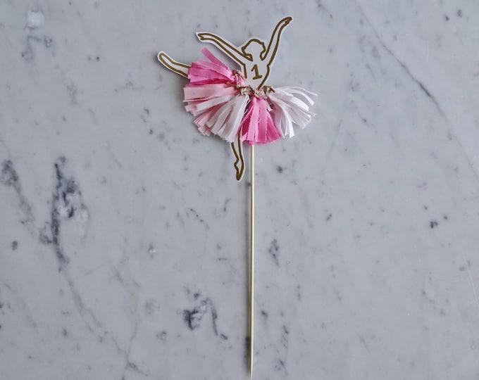 Ballerina Cake Topper / Gold Modern Calligraphy / Custom Hand Lettered / Gold / Mini Tassels / First Birthday / Pink / Baby Girl /Princess