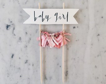 Cake Topper / Modern Calligraphy / Custom / Pink Baby Girl / Gender Reveal Cake / Made-To-Order/ Hand Made Mini Tassels / Party / Birthdays