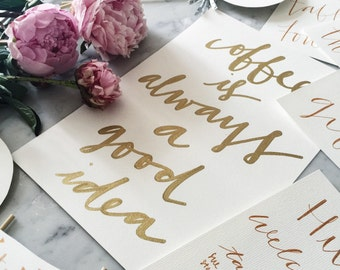 Custom A4 Hand Drawn Metallic Gold Lettering Sign / Coffee Sign / Made-To-Order / Calligraphy / Typography / Writing / Party / Home