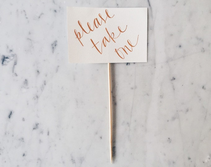 Custom 6 x 4 inch Hand Drawn Rose Gold Lettering Sign / Wedding Stationery / Signs With Stick / Calligraphy / Birthday / Please Take One