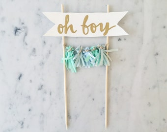 Cake Topper / Gold Calligraphy / Custom Hand Lettered/ Mint Green Light Blue / Made-To-Order/ Hand Made Mini Tassels / Baby Boy /