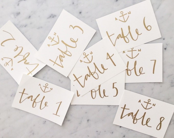 Custom 6 x 4 inch Hand Drawn Metallic Gold Lettering Sign / Nautical / Table Number Signs / Calligraphy / Party Wedding Birthday Hens/