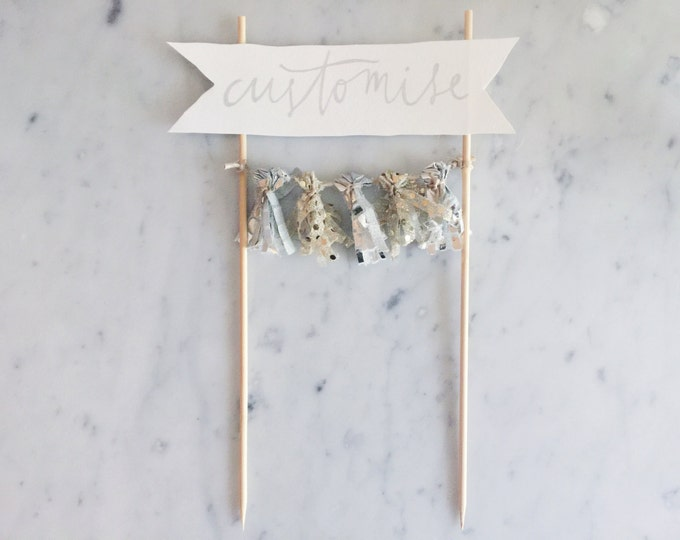 Cake Topper / Silver Calligraphy / Custom Hand Lettered / Silver Gold / Made-To-Order/ Hand Made Mini Tassels / Bamboo Skewers / Birthdays /