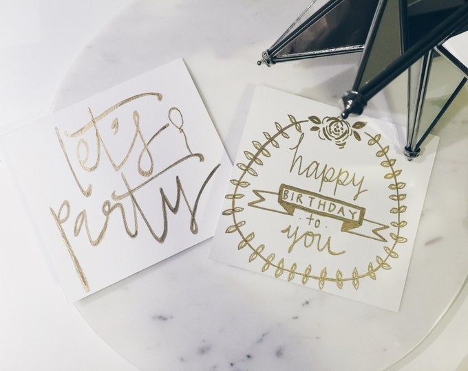 Birthday Cards / Gold Calligraphy / Custom Hand Drawn / Non-Digital / Made-To-Order / Customised / Personalised / Individually Designed /