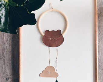 Monogrammed Vegan Leather Nursery Name Decor / Teddy Bear / Gold / Embossed / Hot Stamped Foil / Keepsake / Personalised / Hand Made / Baby
