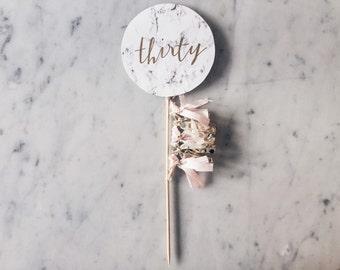 Cake Topper / Marble Print / Modern Calligraphy / Custom Hand Lettered / Blush Pink Gold / Mini Tassels Balloon / Birthday / Love