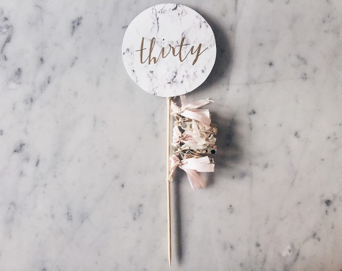 Cake Topper / Marble Print / Modern Calligraphy / Custom Hand Lettered / Blush Pink Gold / Mini Tassels Balloon / Birthday / Love