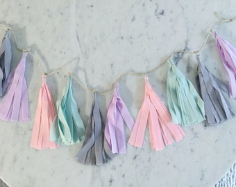 9 Inch Fabric Tassel Garland/ Bespoke / Custom / Made-to-order/ Pastels / Baby Showers Kids Children Bedroom Nursery Kitchen Tea Wedding /