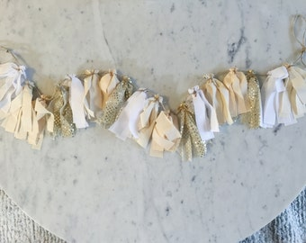 5 Inch Fabric Tassel Garland / Handmade Decor/ Custom / Indian Raw Cotton Cream Peach Gold White / Bridal Wedding Birthday Baby Shower /