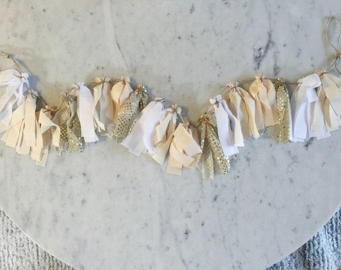 5 Inch Fabric Tassel Garland / Handmade Decor/ Custom / Indian Raw Cotton Cream Peach Gold White / Bridal Wedding Birthday Baby Shower /