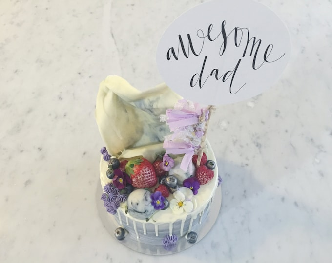 Cake Topper / Modern Calligraphy / Custom Hand Lettered/ Purple Silver / Mini Tassels Balloon / Birthday Wedding Baby Shower / Dad / Party