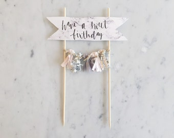 Cake Topper / Marble Print Paper / Gold Modern Calligraphy / Custom Hand Lettered / Blush Pink Silver Grey Gray / Hand Made Mini Tassels /
