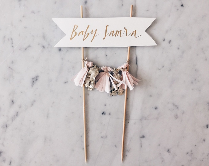 Cake Topper / Gold Calligraphy / Custom Hand Lettered/ Blush Pink Gold/ Made-To-Order/ Hand Made Mini Tassels / Baby Girl Name