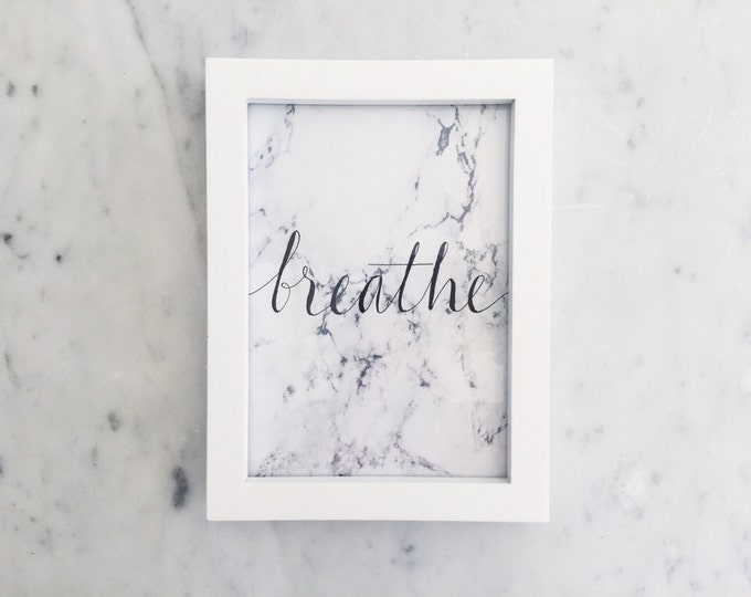 Custom Ink Calligraphy Home Decor / Includes Frame / Marble Print Paper / Modern Calligraphy / Breathe / Writing / Party / Home / Minimal