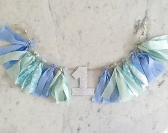 Mini Fabric Tassel Garland With Number / High Chair Banner / Custom / Mint Blues Polka Dot / First Birthday / Weddings Bridal Party /