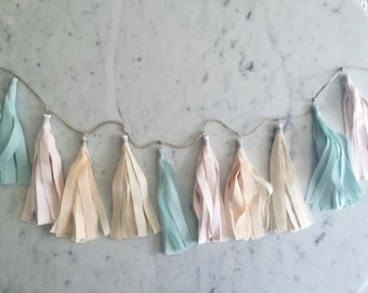 9 Inch Fabric Tassel Garland / Handmade Party Decor / Custom / Indian Raw Cotton Cream Mint Blush Peach Pastels / Birthday Baby-Shower Etc /