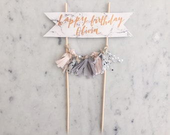 Cake Topper / Marble Print Paper / Rose Gold Modern Calligraphy / Custom Hand Lettered/ Silver Blush Grey / Hand Made Mini Tassels /