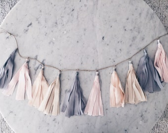 9 Inch Fabric Tassel Garland / Handmade Party Decor / Custom / Indian Raw Cotton Cream Grey Blush Peach Pastels / Birthday Baby-Shower /