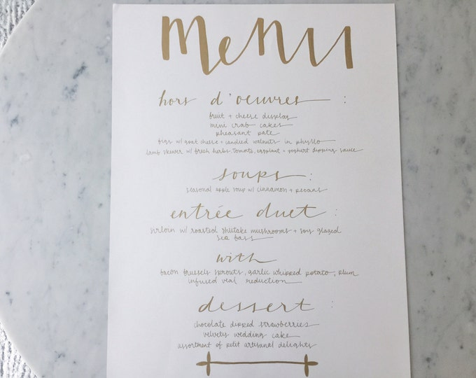 Custom A3 Hand Drawn Metallic Gold Lettering Sign / Menu / Modern Calligraphy / Wedding Outdoor Bridal Event / Hand-Lettered Large/
