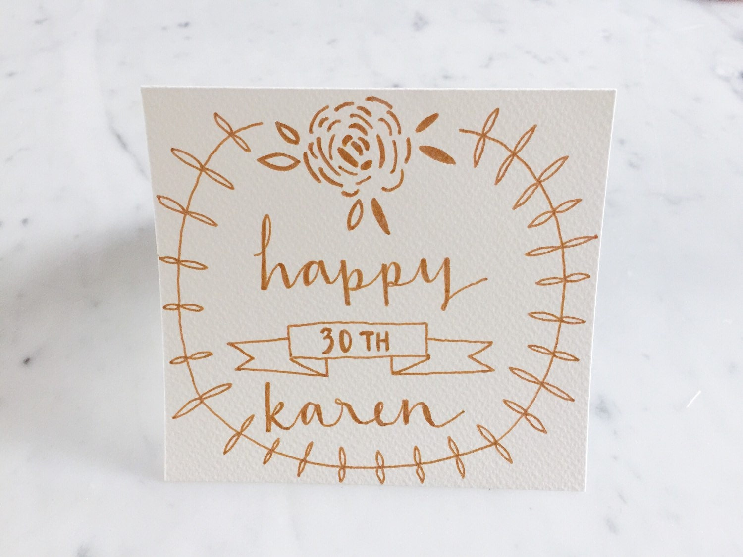 Birthday Cards Rose Gold Calligraphy Custom Hand Drawn Non