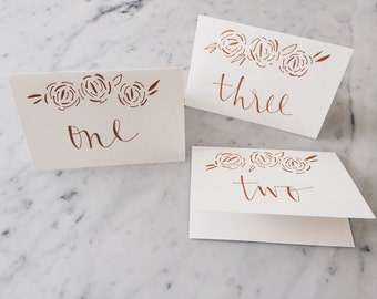 Custom 6 x 4 inch Hand Drawn Metallic Rose Gold Lettering Sign / GARDEN LOVE / Table Number Signs / Calligraphy/ Party Wedding Birthday Hens
